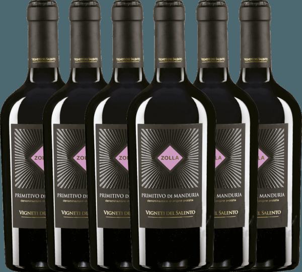6er Vorteils-Weinpaket - Zolla Primitivo di Manduria DOP 2019 - Vigneti del Salento