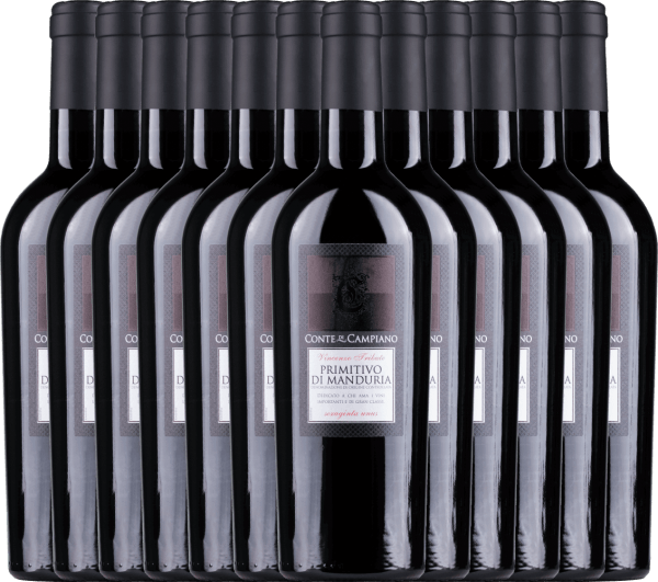 12er Vorteils-Weinpaket Primitivo di Manduria DOC 2019 - Conte di Campiano