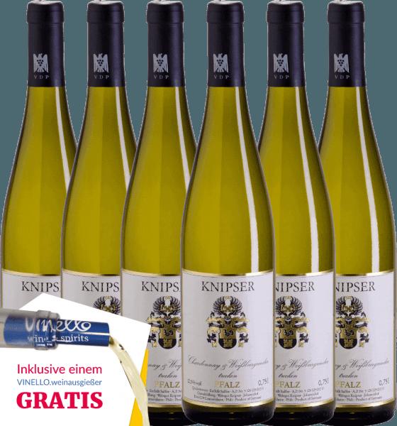 El Chardonnay & Pinot Blanc de Knipser es un vino blanco equilibrado y vivaz del Palatinado. El Chardonnay aporta a este vino un elegante picor y el Pinot Blanc un maravilloso y fresco aroma a heno de pradera y aromas de pera y ciruela. Consiga ahora este vino blanco alemán en nuestro pack de 6 unidades. Conozca más sobre este vino de Alemania en el artículo individual del Knipser Chardonnay & Pinot Blanc.